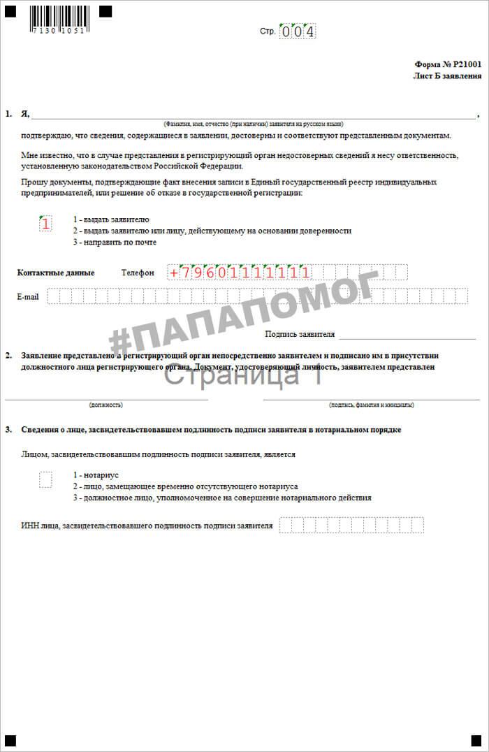 Пример заполнения формы р21001 лист 4