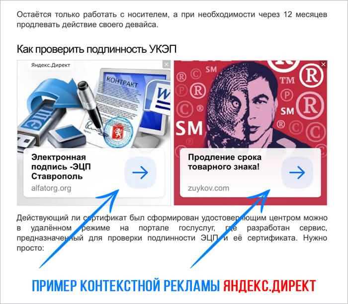 Пример контекстной рекламы Яндекс Директ на сайте