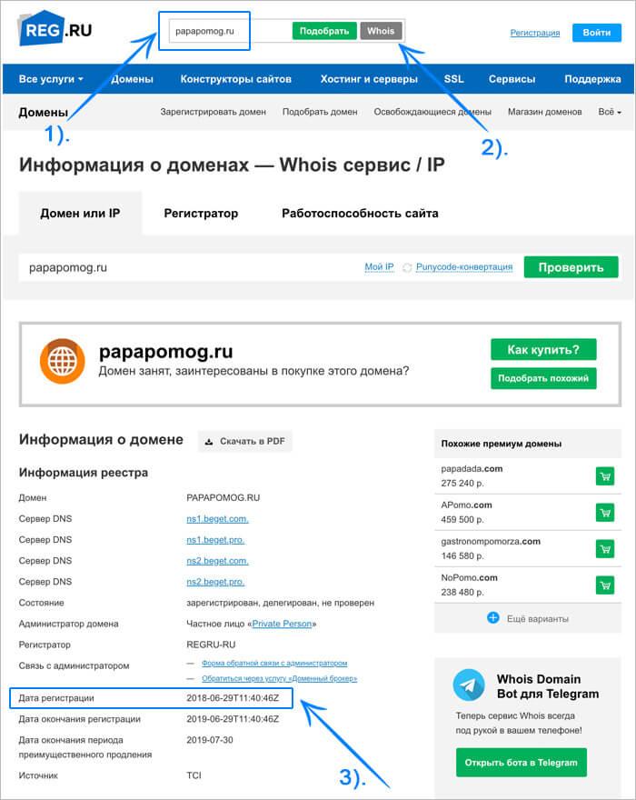 Проверка срока существования сатйта - домена