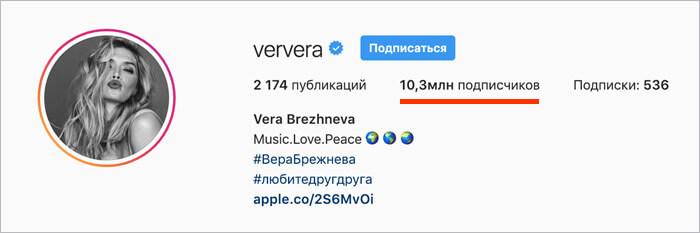Инстаграм Веры Бреженвой